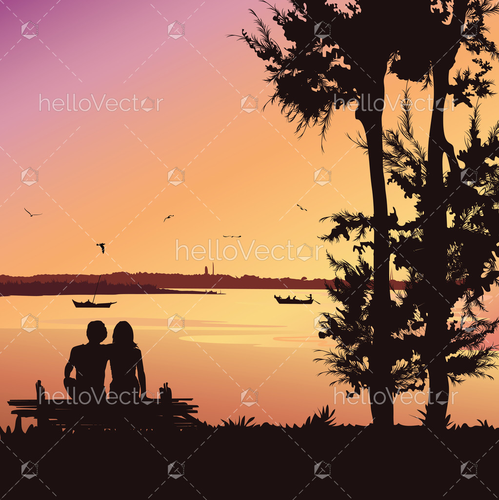 Couple Sitting On The Bench At Sunset, Silhouette Vector