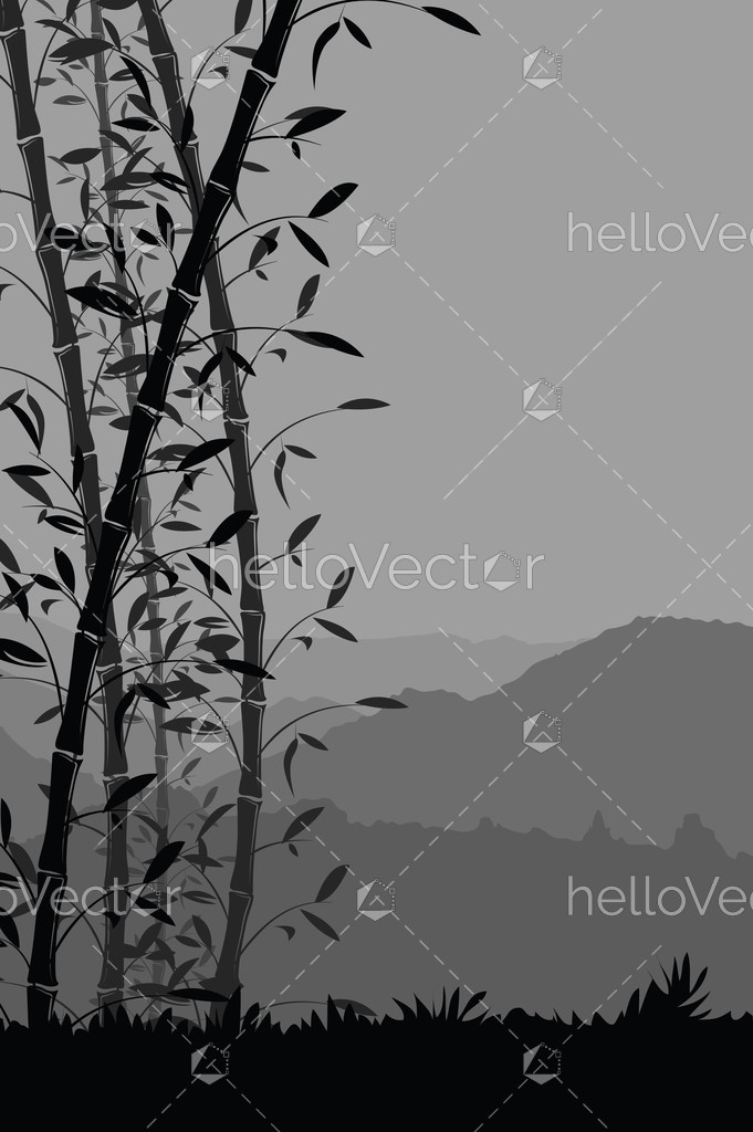 Nature Background With Bamboo Portrait View Black And White Scenery Mobile Wallpaper Vector Illustration Hello Vector