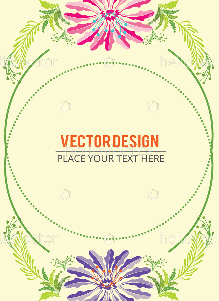 Abstract Colorful Flowers Banner With Text Vector Illustration Hello Vector