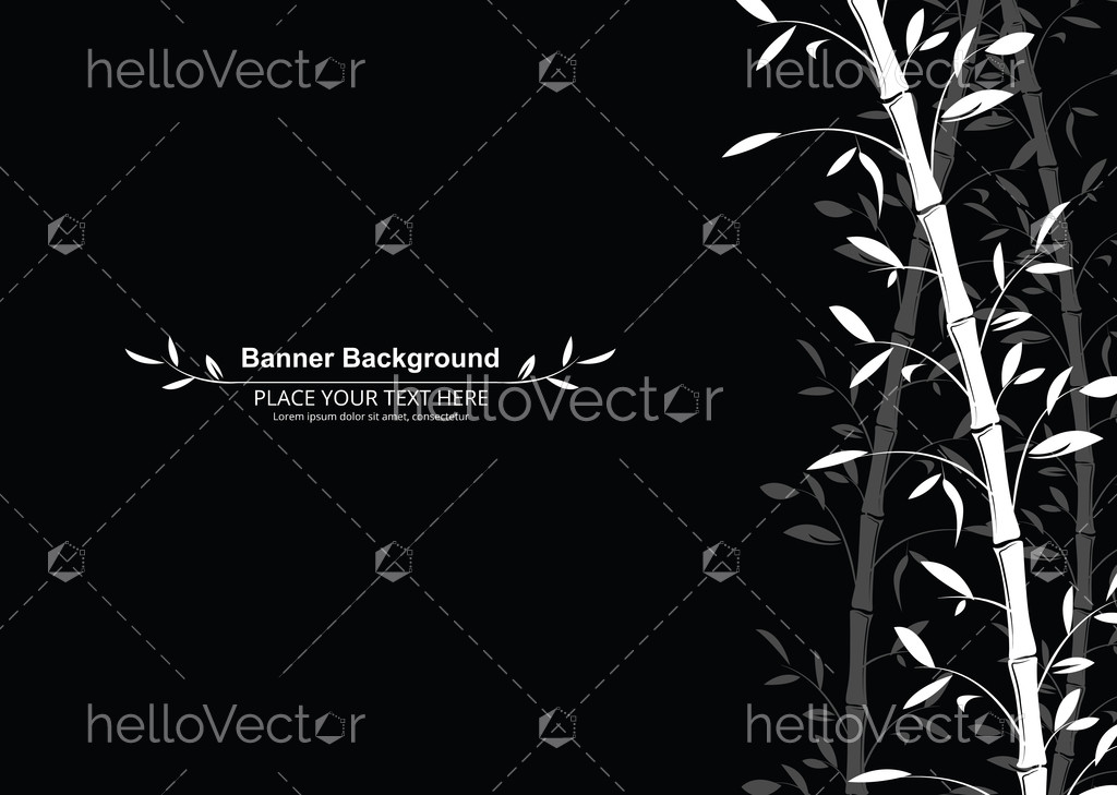 Bamboo Pattern Banner Background Black And White Decorative