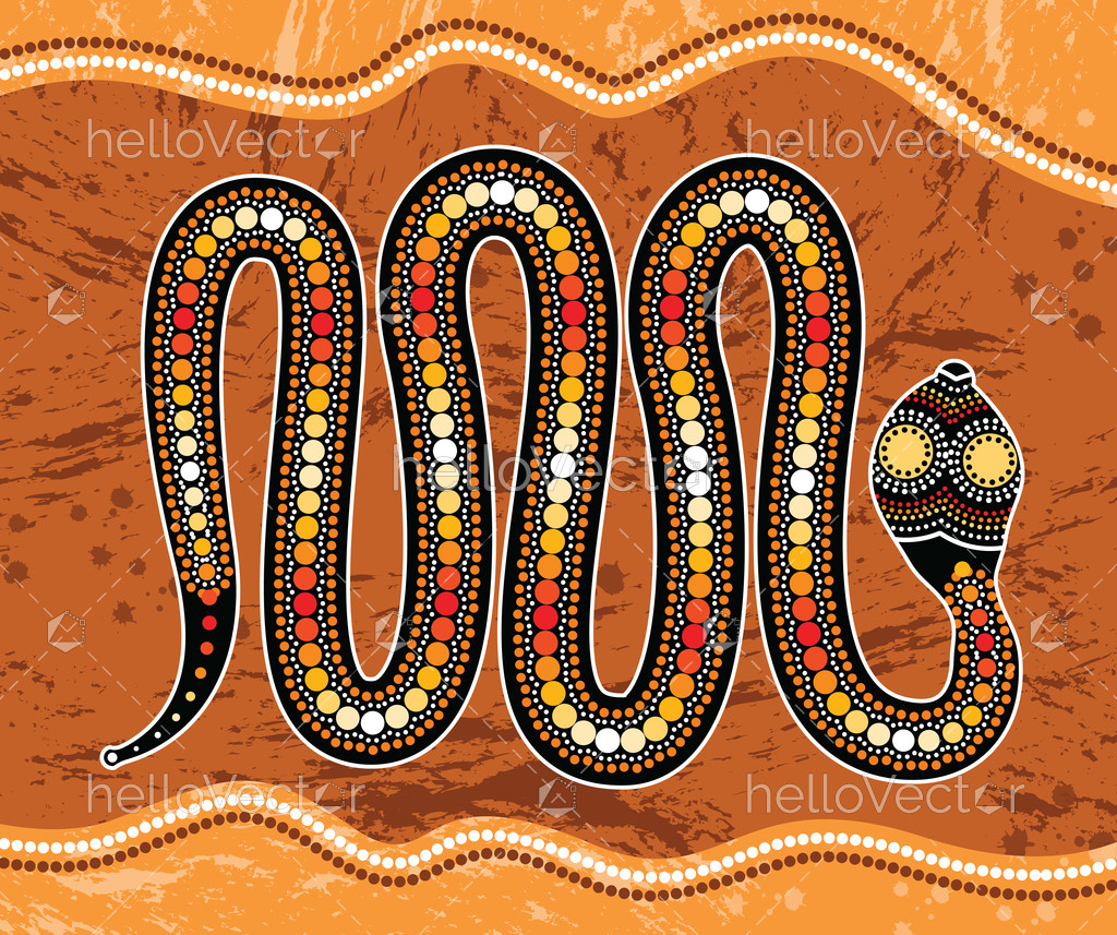 Aboriginal Art Vector Painting With Snake Hv00000817 Hello Vector