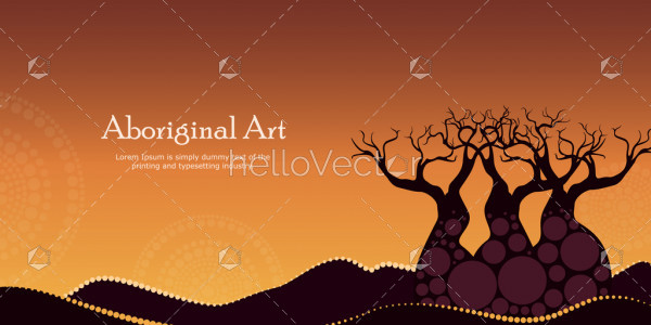 Aboriginal art landscapes vector banner background