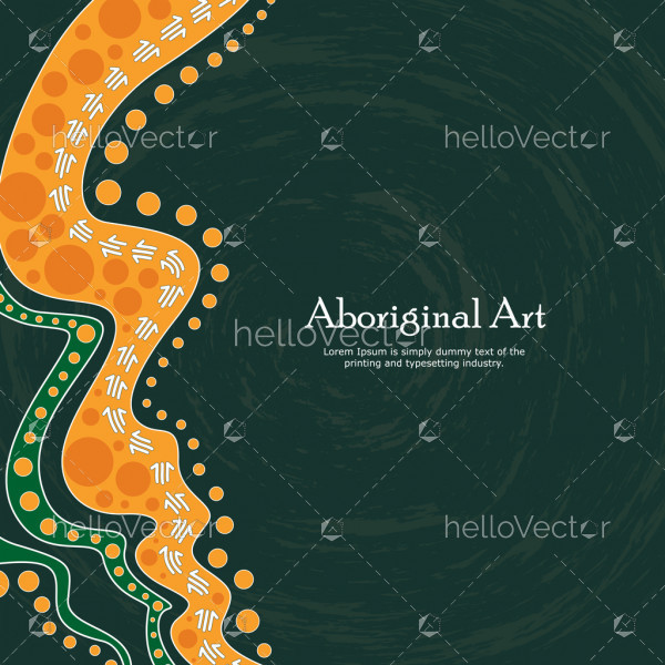 Aboriginal art vector banner with text