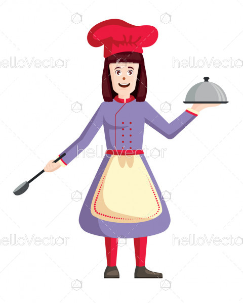 Female chef vector. Woman cook holding tray and spatula illustration.