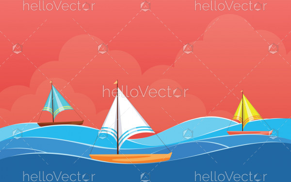 Background design with Sailing boat, Desktop wallpaper vector