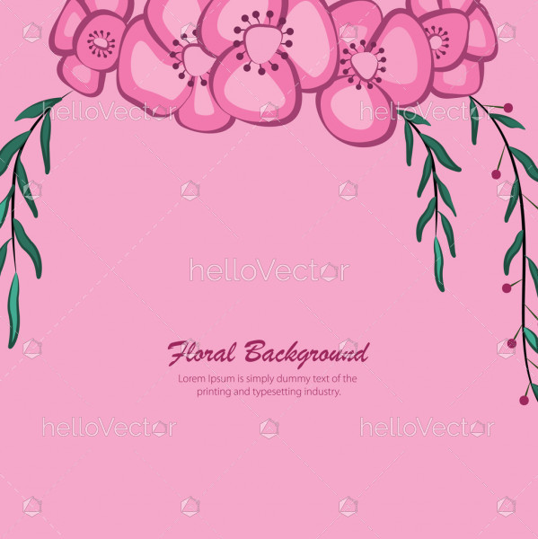 Floral banner background with text - Vector illustration