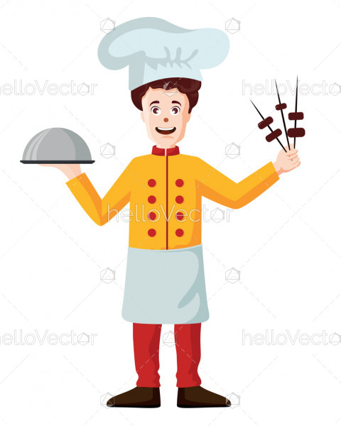 Smiling chef cartoon character - Vector illustration