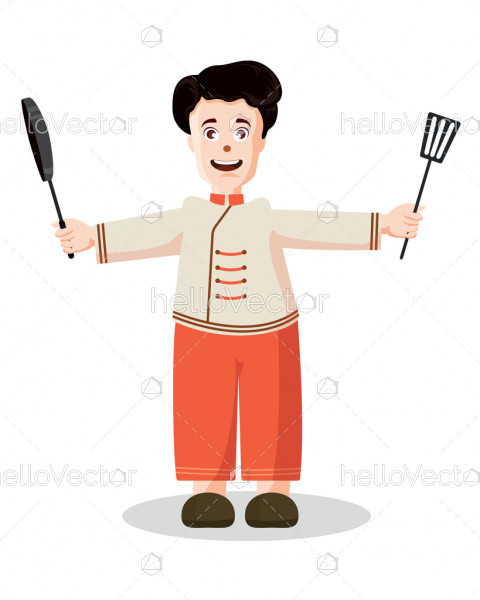 Cute smiling chef boy cartoon - Vector illustration