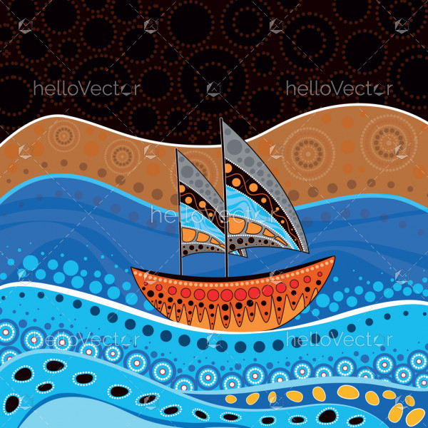 Aboriginal art vector painting - Nature concept