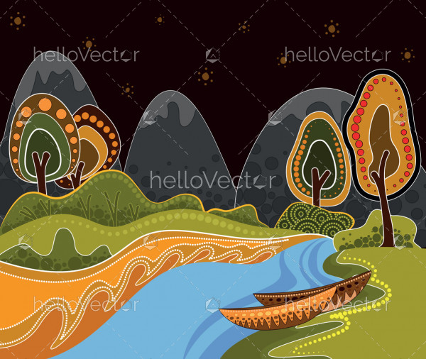 An illustration based on aboriginal style of dot painting depicting nature.