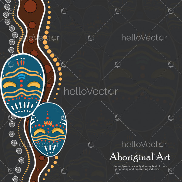 Aboriginal dot art vector banner with mask