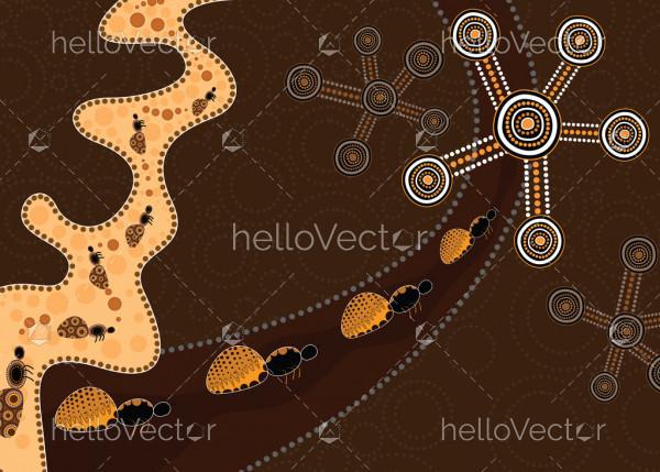 Aboriginal dot art vector background depicting honey ants