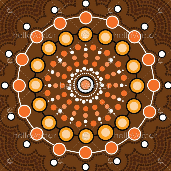 Aboriginal dot art vector background.