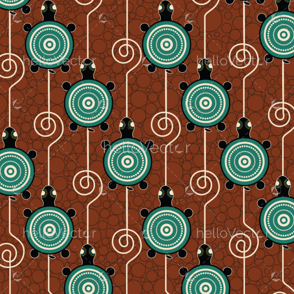 Aboriginal dot art vector pattern background with turtle.