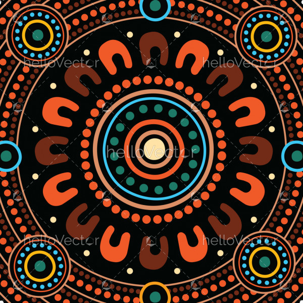Aboriginal dot art vector painting.