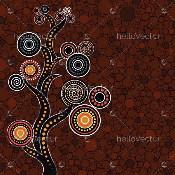 Aboriginal tree, Aboriginal art vector painting with tree.