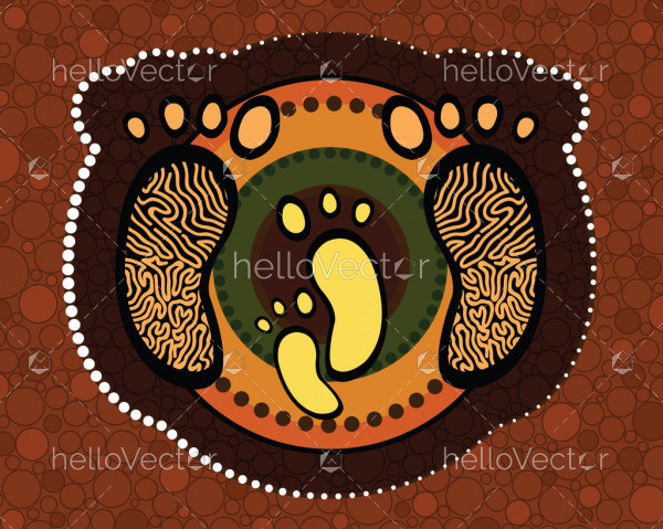 Aboriginal art vector painting, Mother and child concept