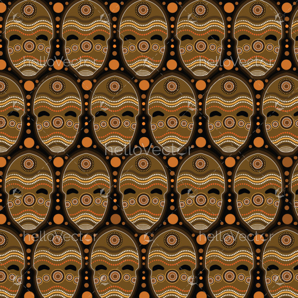 Aboriginal dot art vector seamless mask pattern background.