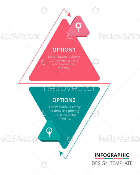 Step 2 process infographic template design - Vector Illustration