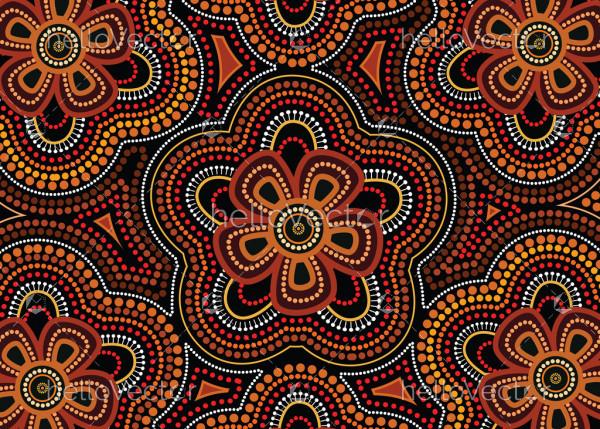 Aboriginal dot art vector seamless flower pattern background.