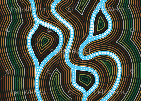 River, Aboriginal art vector painting with river