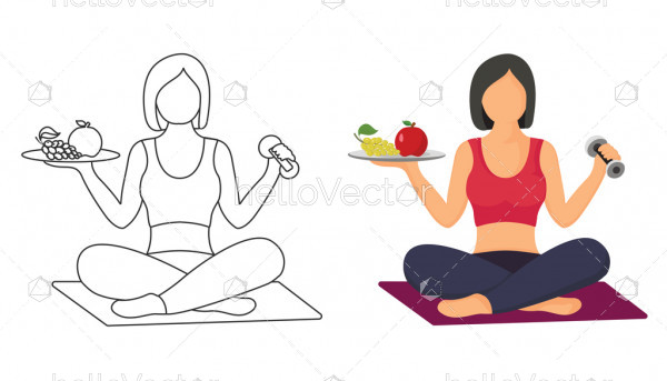 Women's fitness - Vector Illustration, Woman doing exercises, health and fitness concept