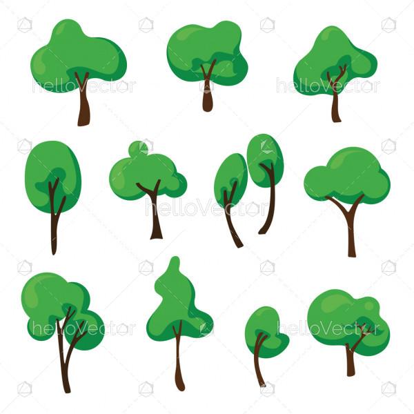 Set of vector abstract tree. Flat tree design illustration