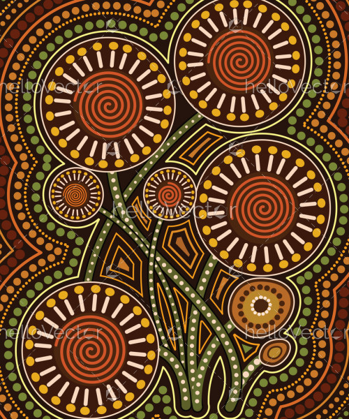Aboriginal dot art vector painting with flowers
