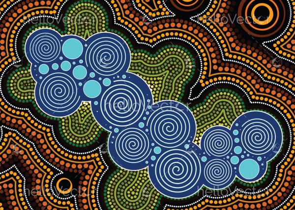 Aboriginal dot art vector background. Nature concept