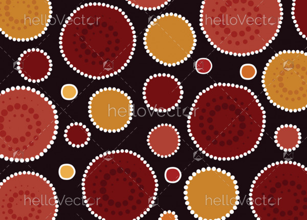 Aboriginal dot art vector circle pattern background