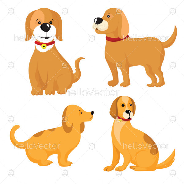 Vector set of different dog breeds