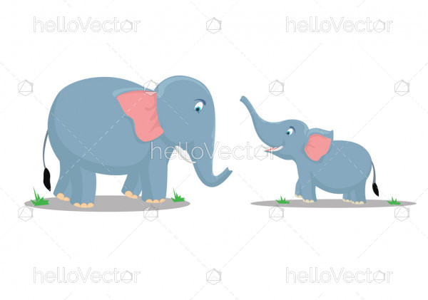 Cute mother and baby elephant - Vector illustration