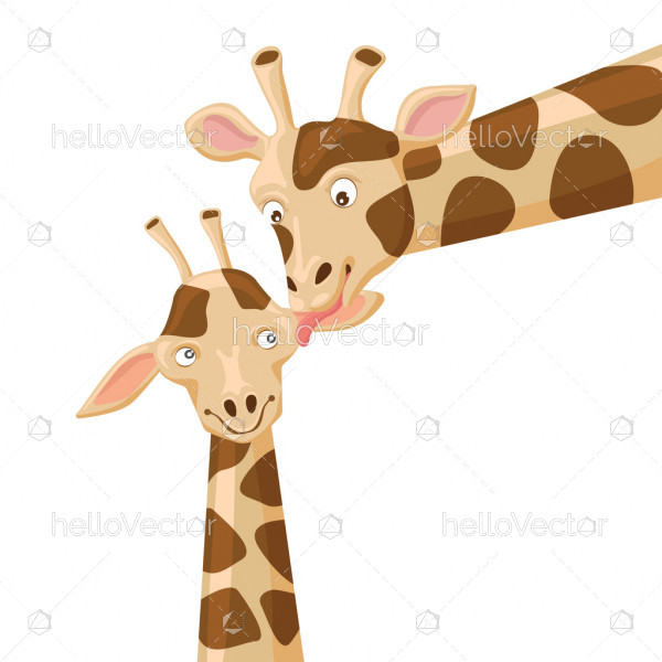 Giraffe vector illustration, Baby giraffe with mom, Mother child concept