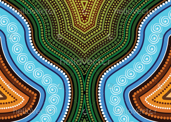 Aboriginal art vector painting, Nature concept