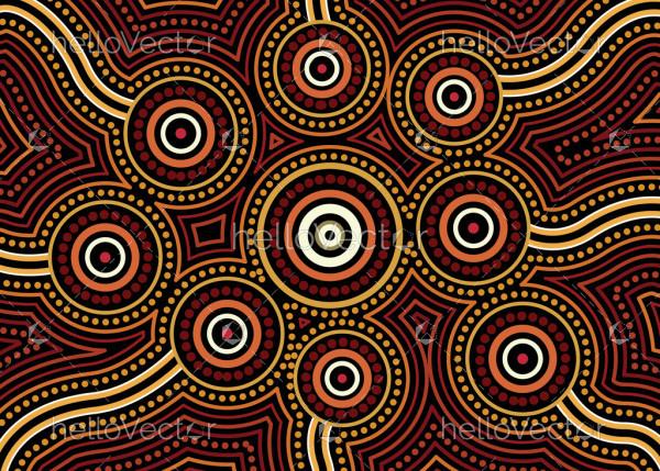 Aboriginal dot art vector background. Connection concept