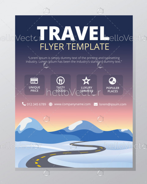 Travel flyer template vector design with graphics and text.