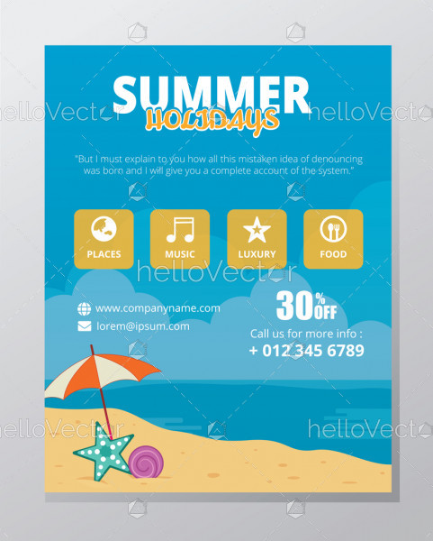Summer banner template vector design with graphics and text.