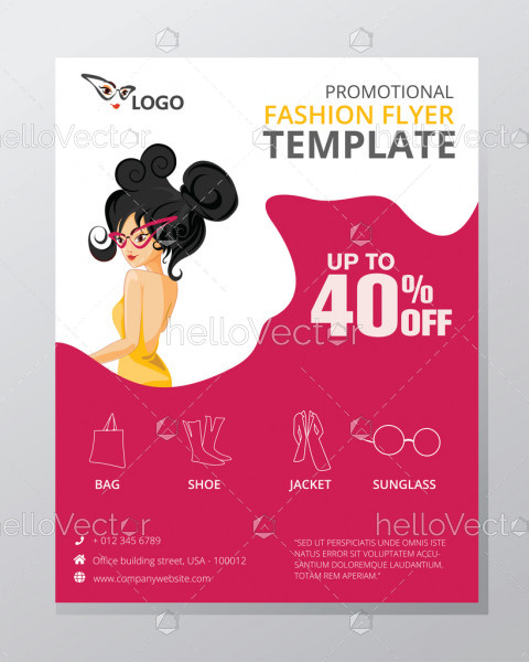 Fashion and shopping flyer template vector design with graphics.