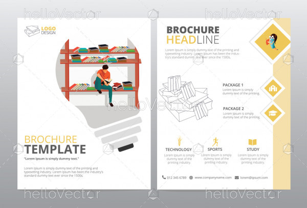 Brochure design vector template. Education concept