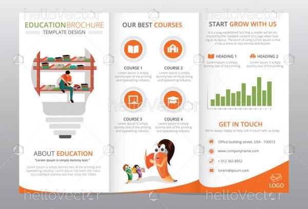 Tri-fold brochure template design. Education concept