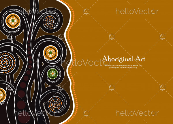 Aboriginal tree, Aboriginal art vector banner with text.