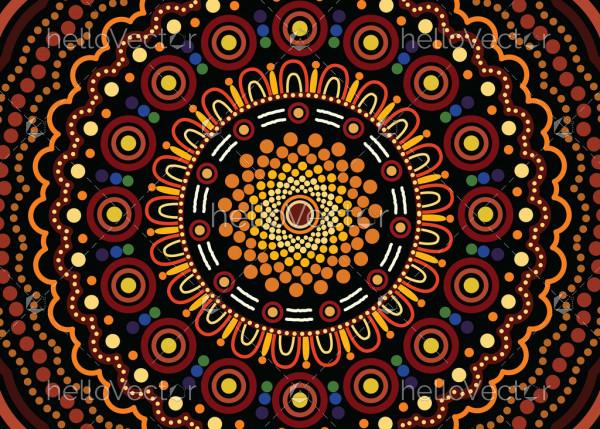 Aboriginal art vector background.