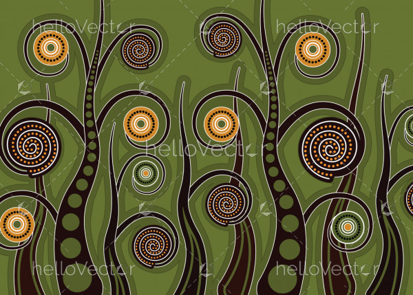 Aboriginal tree, Aboriginal art vector painting with tree.