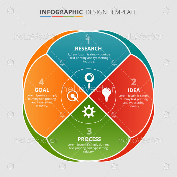 Process infographic template design with 4 steps - Vector Illustration