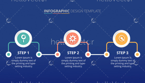 Process infographic template design with 3 steps - Vector Illustration