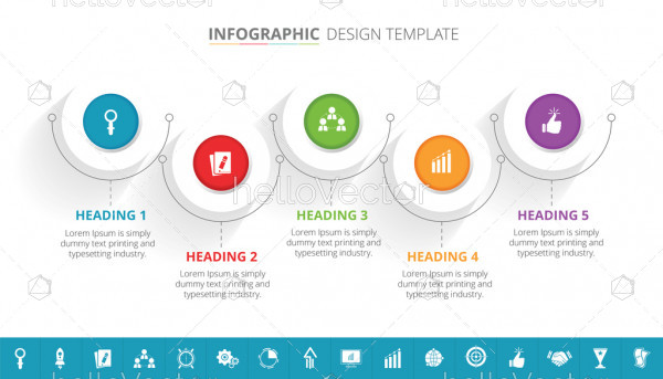 5 steps business process infographic template design with 16 extra icons - Vector Illustration