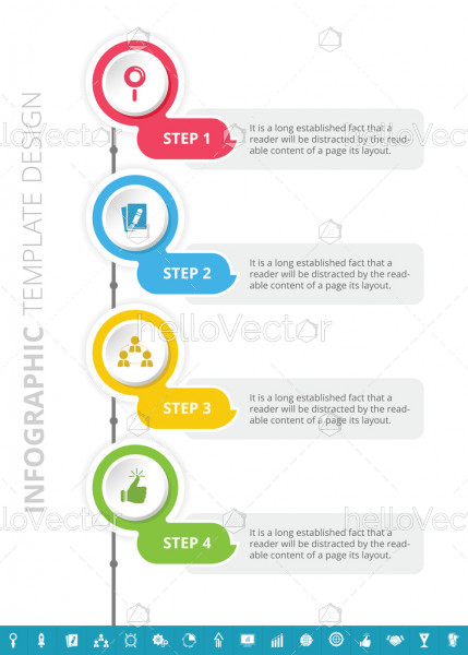 Business process infographic template design with 4 steps and 16 extra icons - Vector Illustration