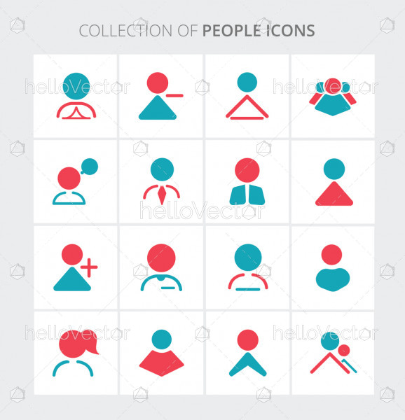 People colored icon collection - Vector illustration