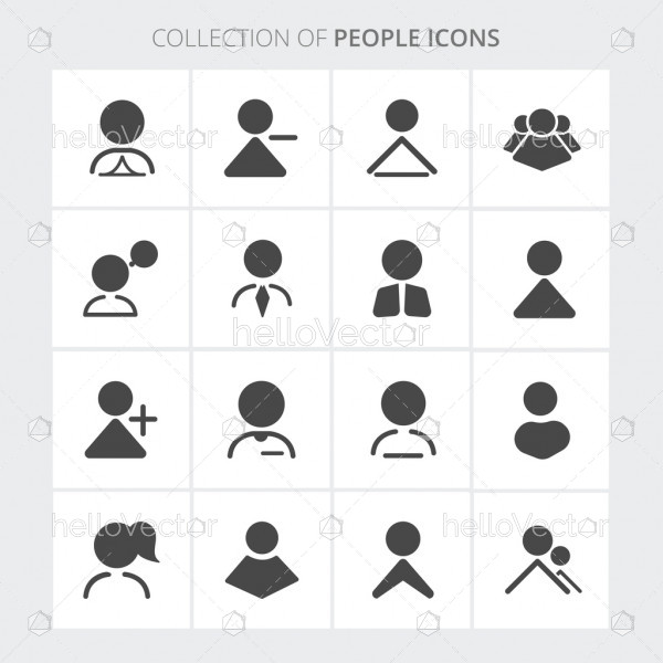 People icon collection in trendy flat style isolated on white background.
