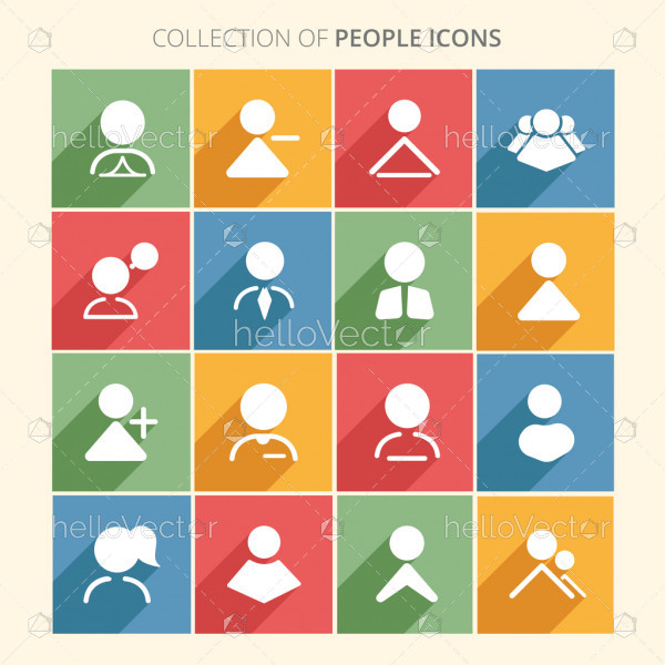People icon collection with shadow in trendy flat style isolated on colorful background.